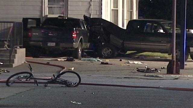 A father was killed and his young son seriously injured when police say a drunk driver crashed into a family riding their bicycles in Biddeford on Aug. 5. Click here for photos from the scene.