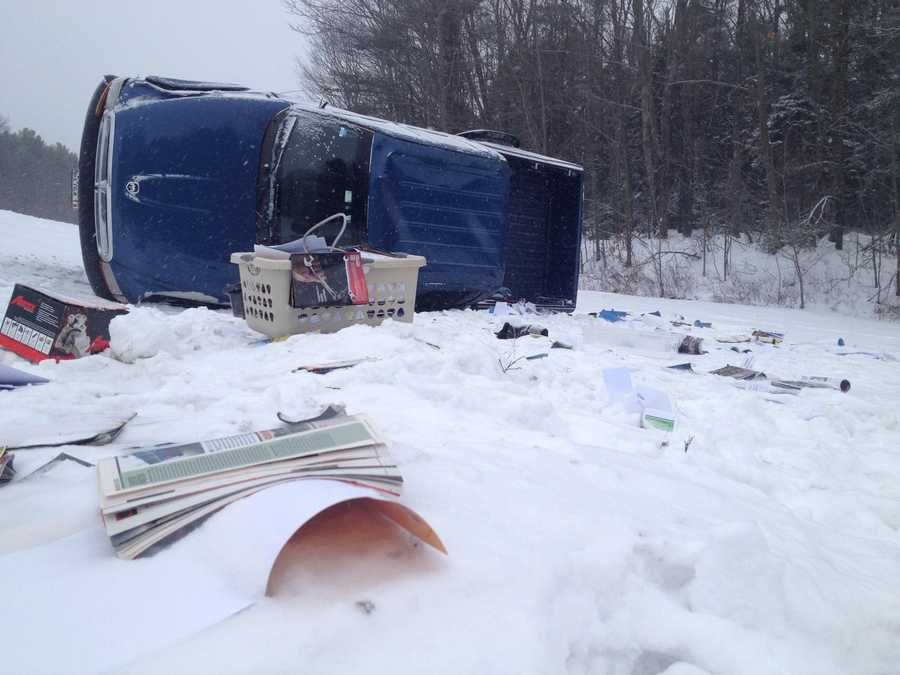 This truck rolled over on Interstate 295 in Falmouth Thursday morning.  Police said the driver was not hurt.