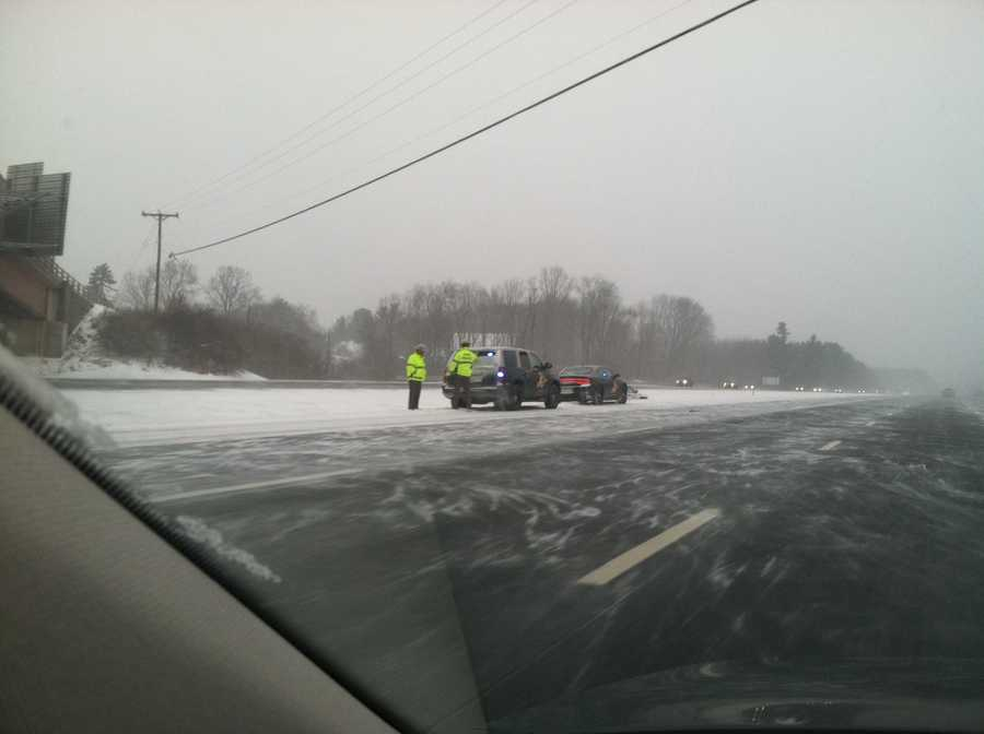 A spin out on Interstate 95 near Portsmouth, NH