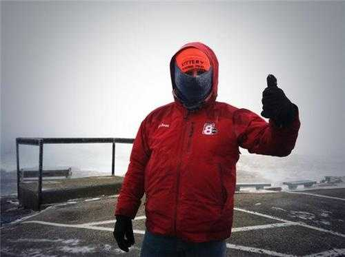 Photographer Sean Guiggey is prepared for the storm.