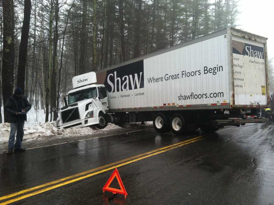 A tractor-trailer jackknifed on Route 26 in Gray Friday morning blocking the road.