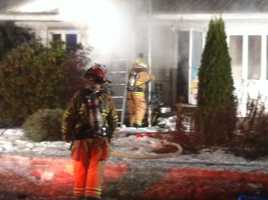 Crews battled a fire in Freeport Wednesday morning that damaged a home on Griffin Road.