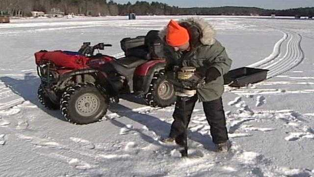 The ice was tested on Crystal Lake in Gray Tuesday morning to see if it safe for Saturday's ice fishing derby.