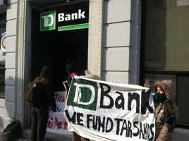 The protesters said TD Bank is one of the companies that invested in the pipeline.