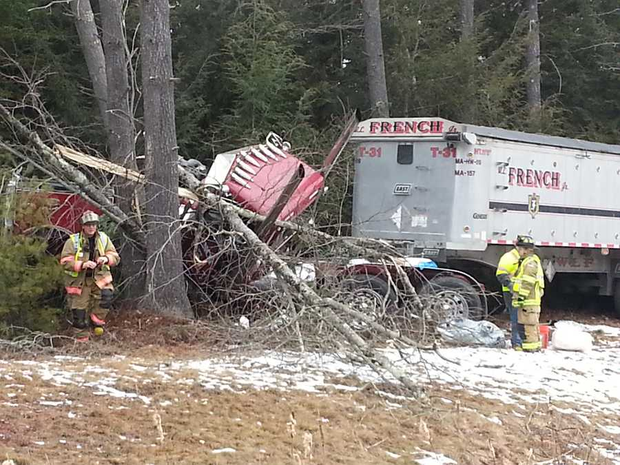The driver of a tractor-trailer lost control on the Maine Turnpike in Arundel on Monday, crashing into the woods. Click through for photos from the scene.