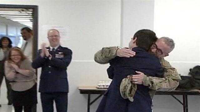 A father deployed in Afghanistan for the past several months surprised his son at school on Tuesday. Click through for photos of the reunion.