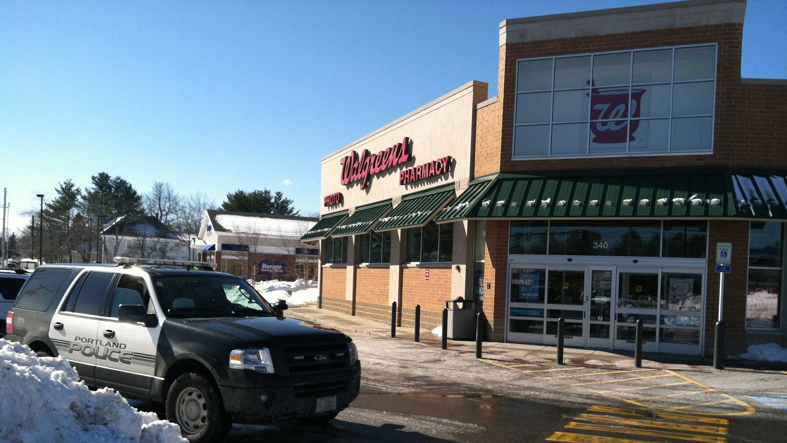 Portland Police at the Allen Ave. Walgreens that was held up on Sunday, Feb. 16 2014.