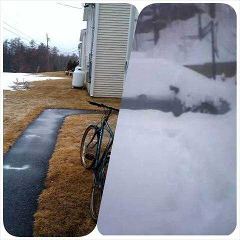 Ann Dearborn sent in this pic. The left is her house in Damariscotta. The right is her niece's house in Livermore this morning