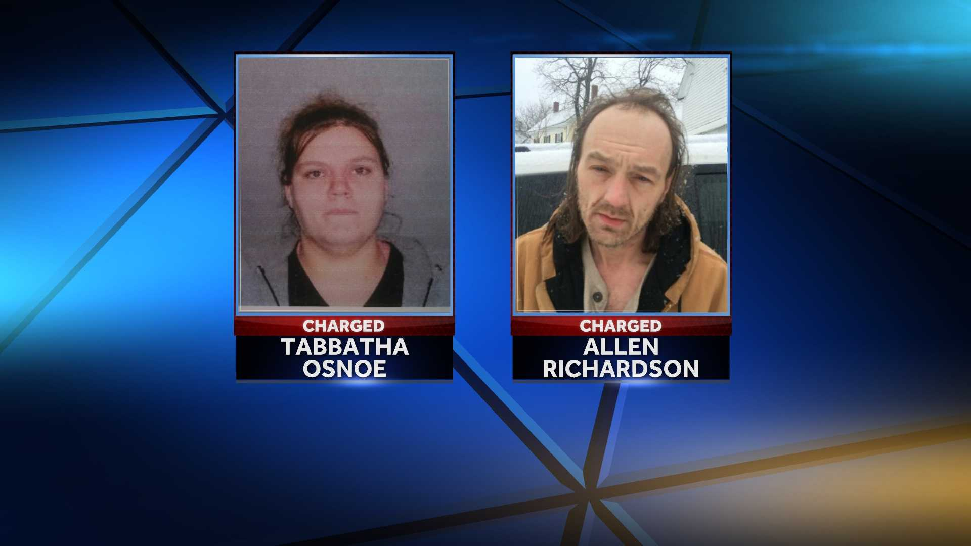 Allen Richardson and Tabbatha Osnoe are charged with Class B trafficking of methamphetamine, a Schedule W drug