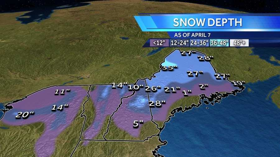 This is the snow depth as of Monday April 7.