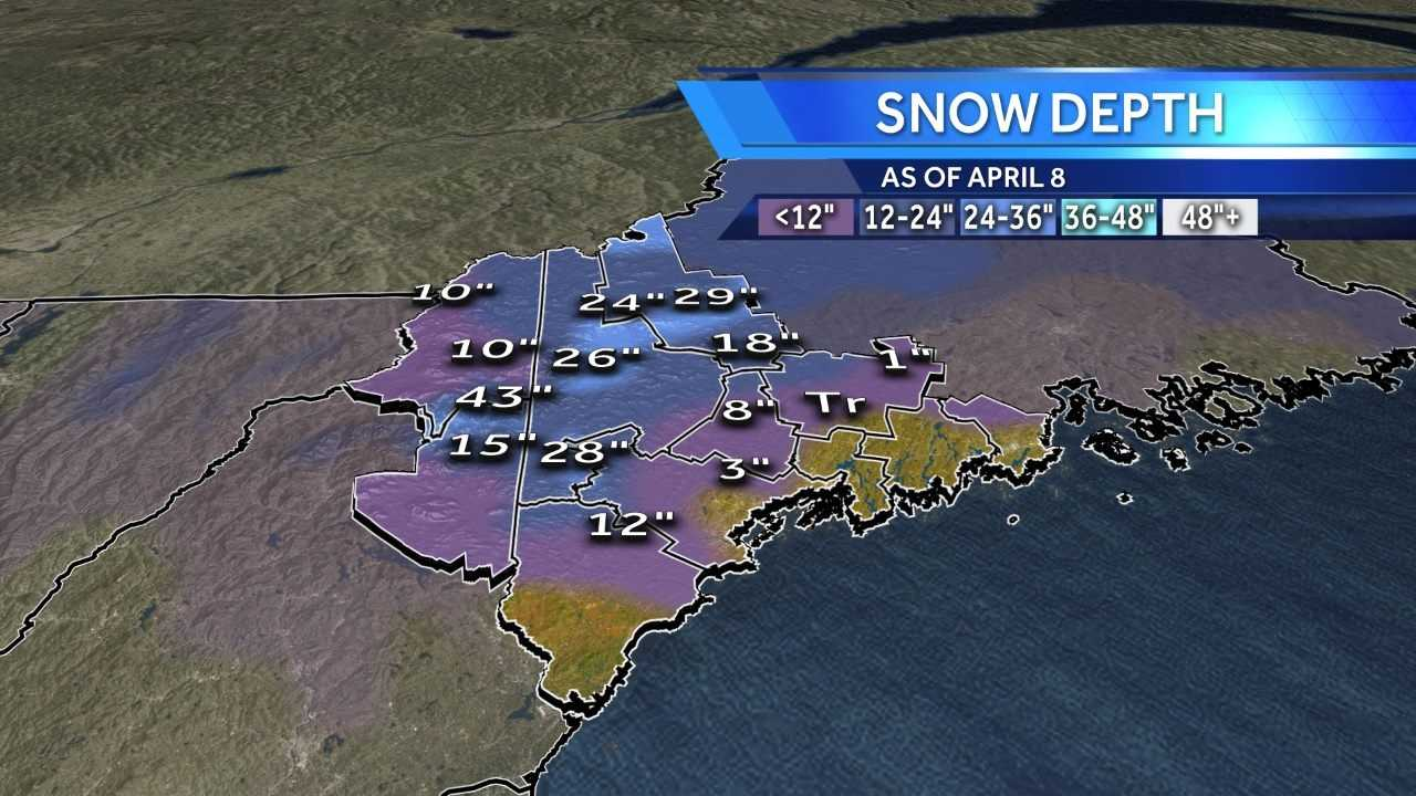 This is the snow depth as of Monday April 8. The overnight rain will continue to melt the snow pack this week. Continue to see a town-by-town look at the snow depth.