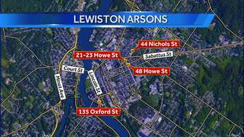 This map shows the locations of the four fires in Lewiston on Thursday. All four have been ruled arson. Click through for a timeline of the fires.