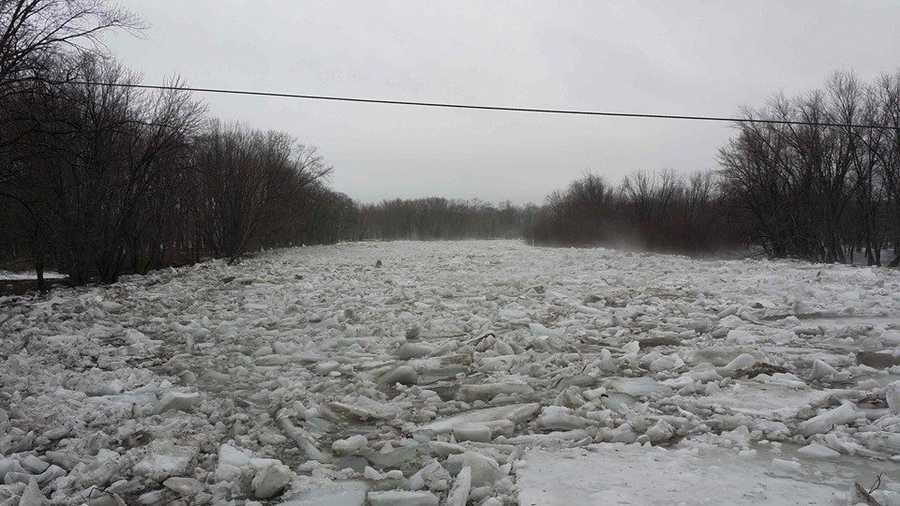 The following pictures are from Pleasant River in Milo that were taken Tuesday morning.