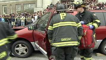 Members of the city's police and fire departments took part in the mock accident.