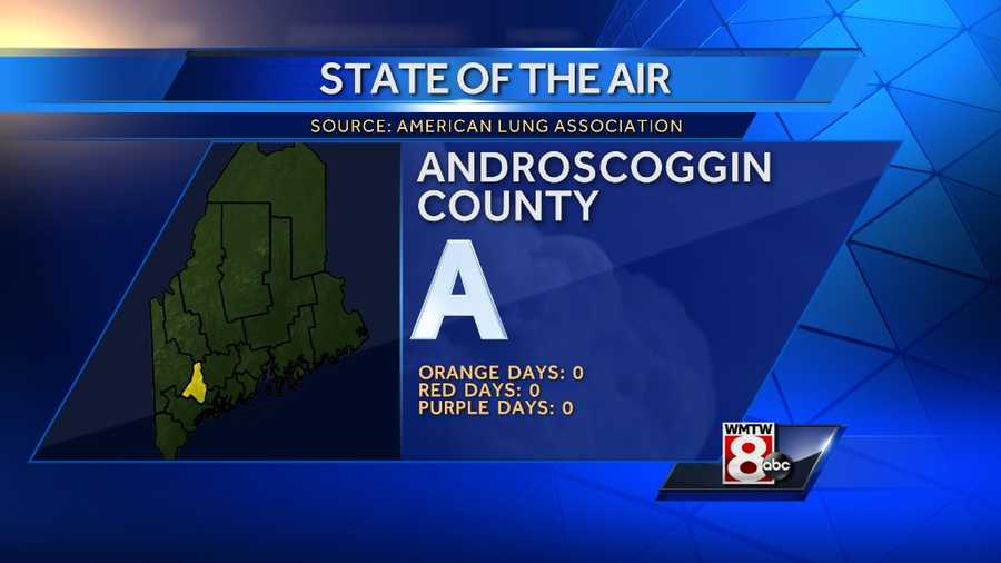 """Androscoggin County received an """"A"""" grade with no, orange, red, or purple days."""