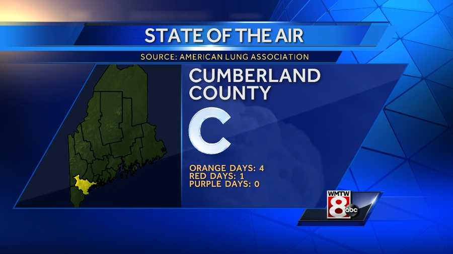 """Cumberland County received a """"C"""" grade with 4 orange days, 1 red day and no purple days."""