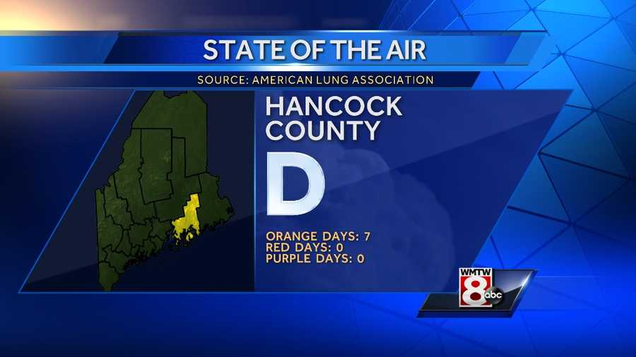 """Hancock County received a """"D"""" grade with 7 orange days, no red days and no purple days."""