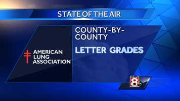 """The American Lung Association rated the air quality of each of Maine's counties. The data on air quality throughout the United States were obtained from the U.S. Environmental Protection Agency's Air Quality System.Orange Days are """"unhealthy for sensitive groups"""". Red Days are """"unhealthy"""". Purple Days are""""very unhealthy"""""""