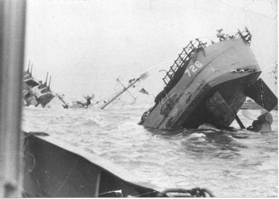 The Meredith was providing support for troops on Utah Beach when a mine in shallow water ripped a 65-foot hole in the ship. The ship didn't sink, but 35 men were killed and 26 were wounded. Salvage efforts were underway when a German air attack dropped at 2,000 pound bomb within 800 yards of the Meredith, according to the book. The ship still did not sink, and it was a few days later when the Meredith broke apart. It had only been in active commission for 87 days.