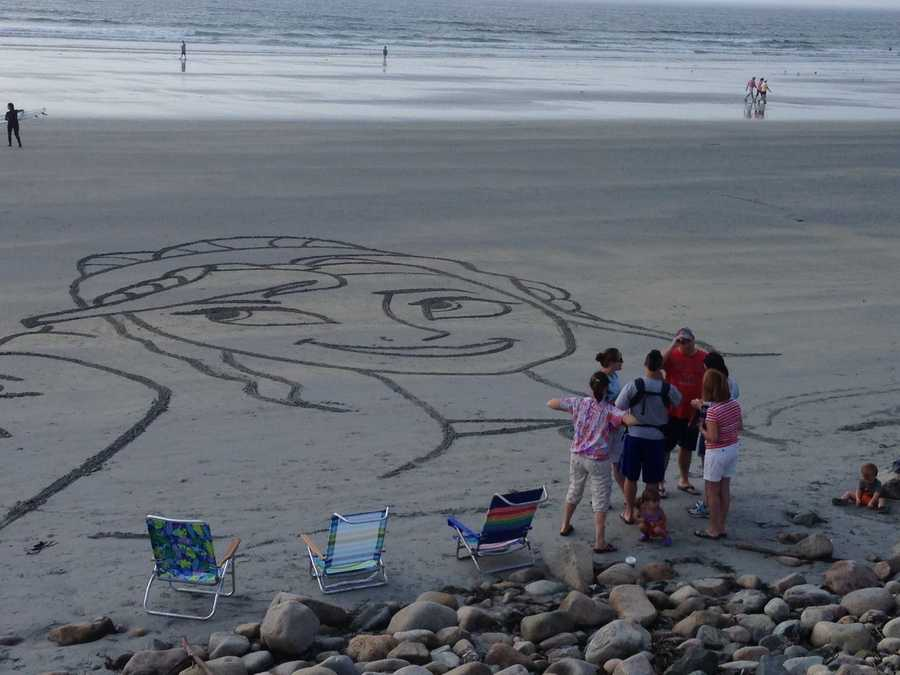 The York Police Department said on its Facebook page that Chuck Flickinger and Leo Tetreault raked Elsa, Olaf, and Anna into the sand this morning. They do this each year while on vacation.