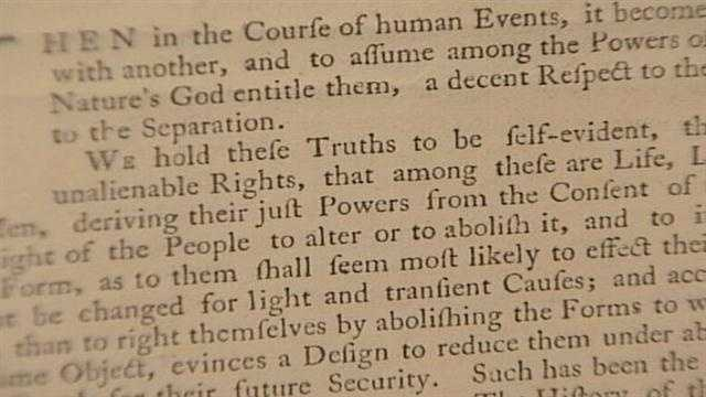 When printed, this version of the Declaration of Independence was destined for a bulletin board to inform colonists of the Declaration and its intent.