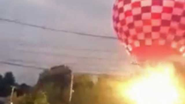There were two explosions as the balloon hit power lines.