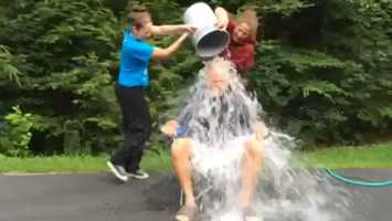WMTW News 8 General Manage Dave Abel took the #IceBucketChallenge after being challenged by News Director Amy Beveridge..