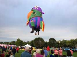 """Peg Leg Pete"" takes off from the Great Falls Balloon Festival"