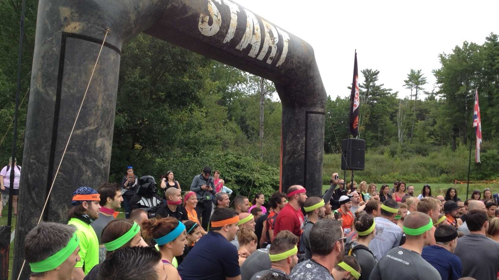 Participants begin the Tough Mudder challenge