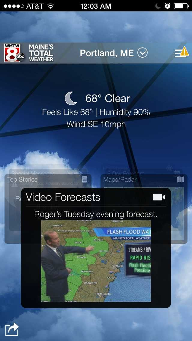 The app features the latest video forecast from Maine's Total Weather Team. Download in iTunes