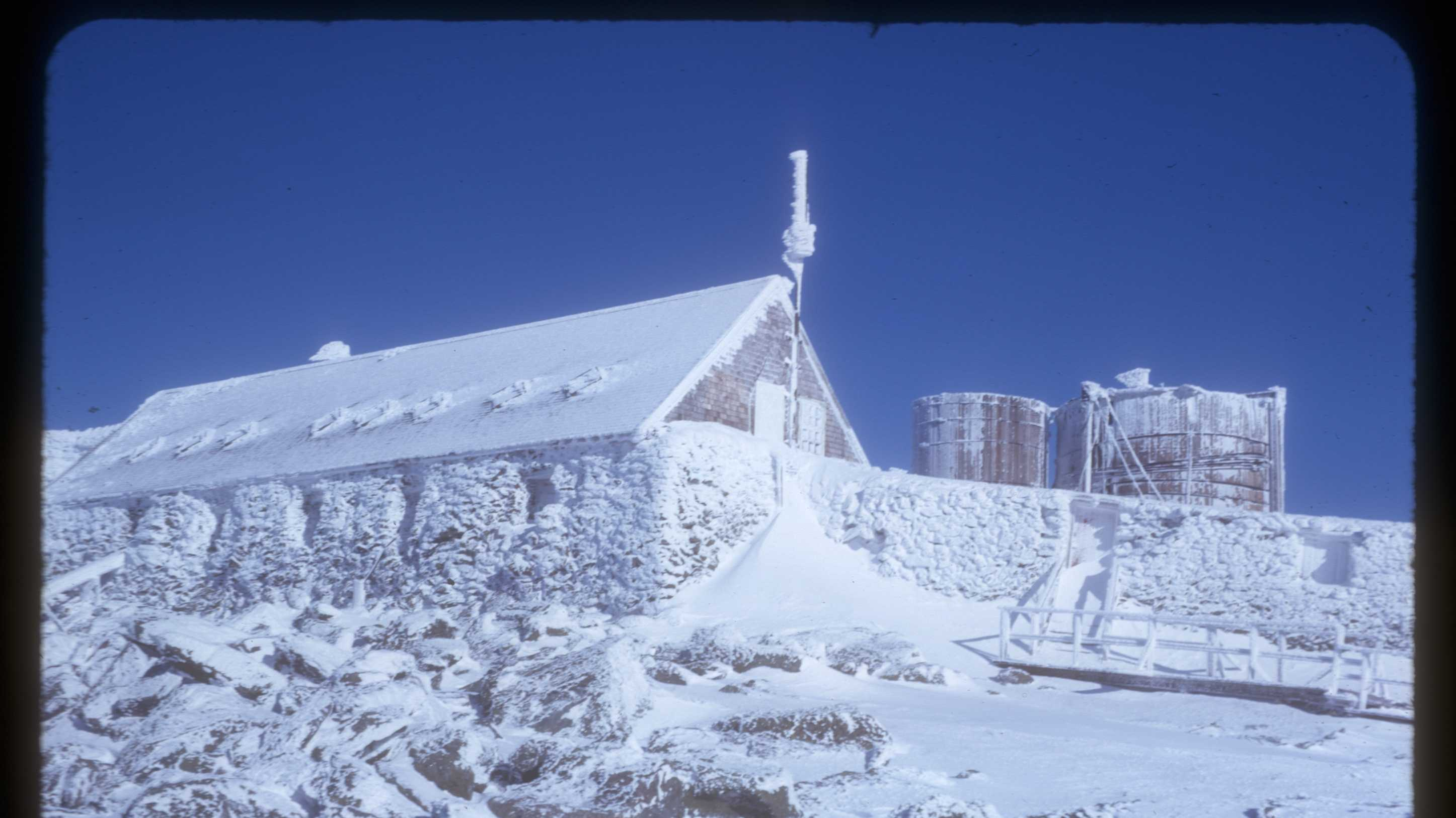 It was no small task building transmitter facilities and maintaining at 6,288 feet, the site of some of the world's worst weather.