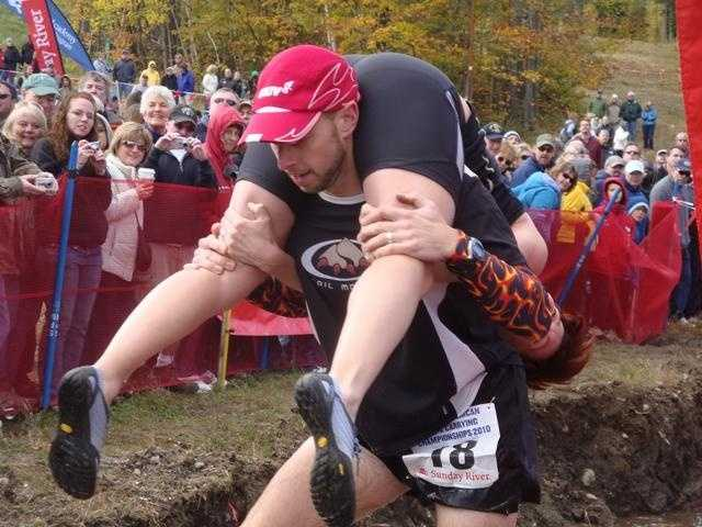 Grab a partner and take part in the annual Wife Carrying Contest at Sunday River