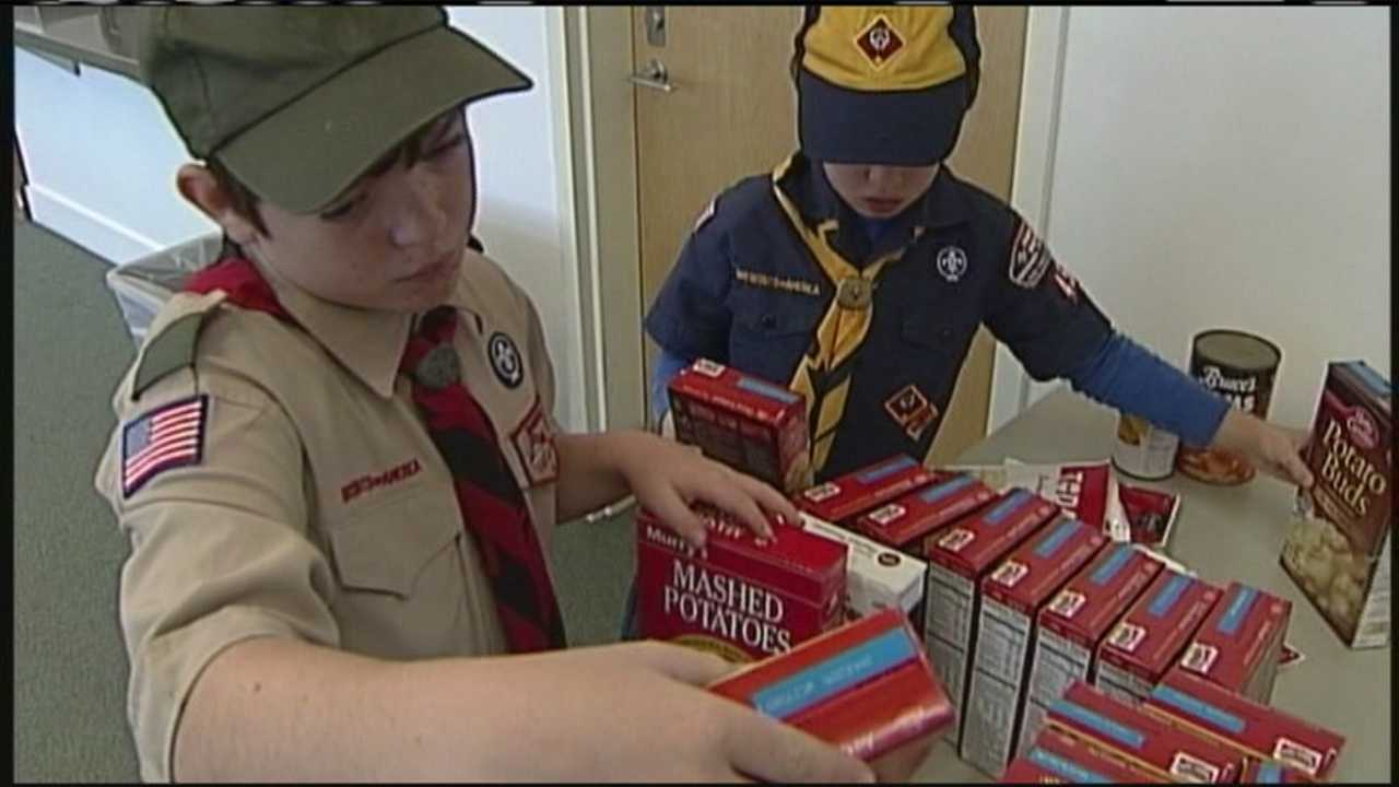 Boy Scouts and Girl Scouts in the Freeport and Pownal communities joined together to deliver food for hundreds of families in need.