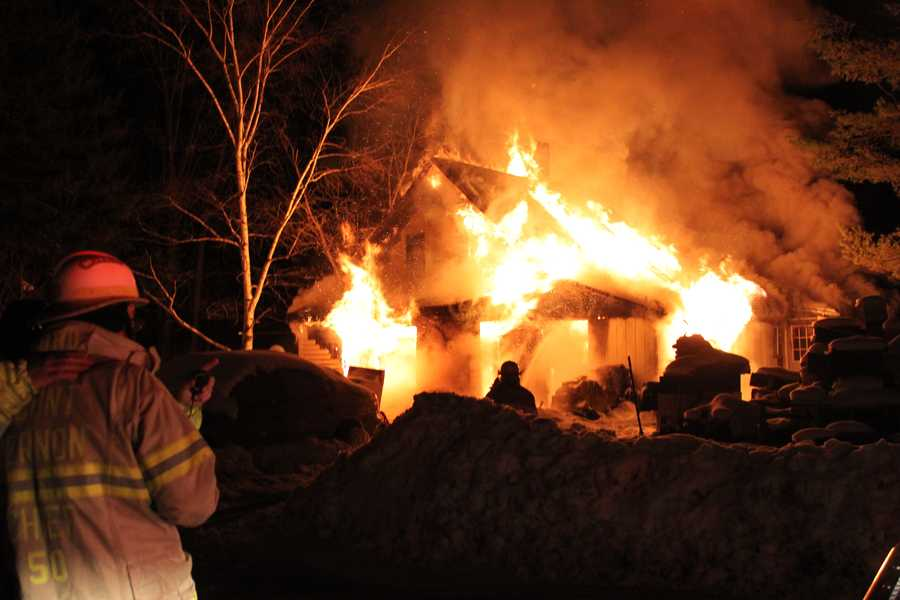 Several crews across central Maine responded to a fire at a building at 11 Mountain Road on Sunday night.