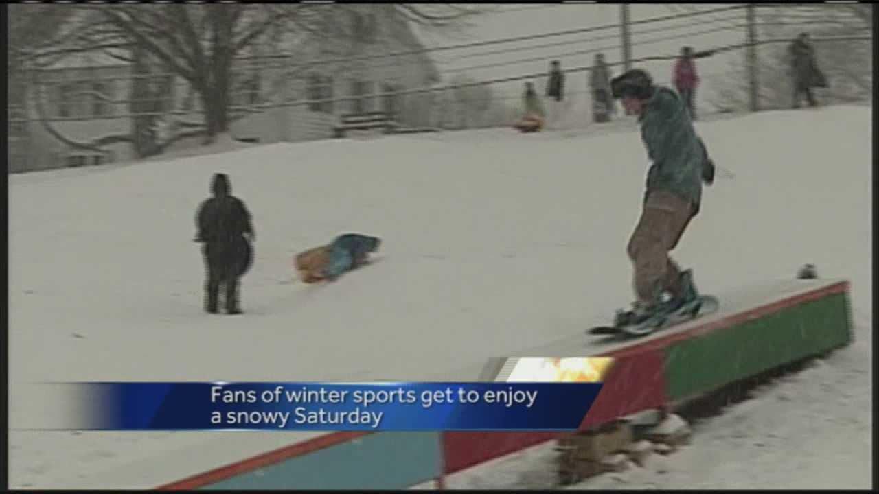 Saturday's winter storm meant fans of winter sports got a chance to experience some fun without heading too far away.