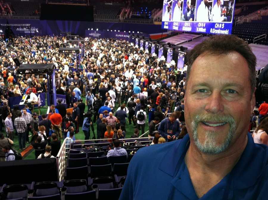 WMTW News 8 photojournalist Kevyn Fowler at Media Day in Phoenix, Arizona.