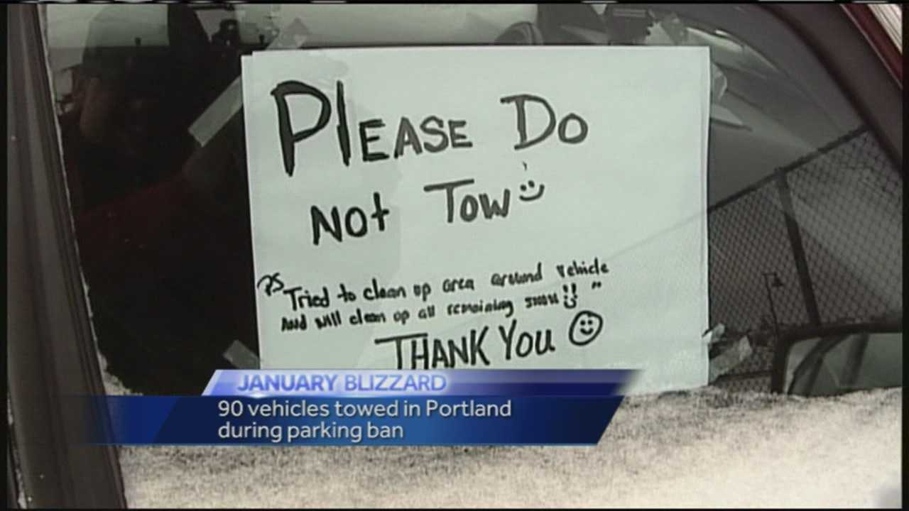 Tow trucks brought in about 90 cars who violated the city's parking ban Monday night through Wednesday morning.