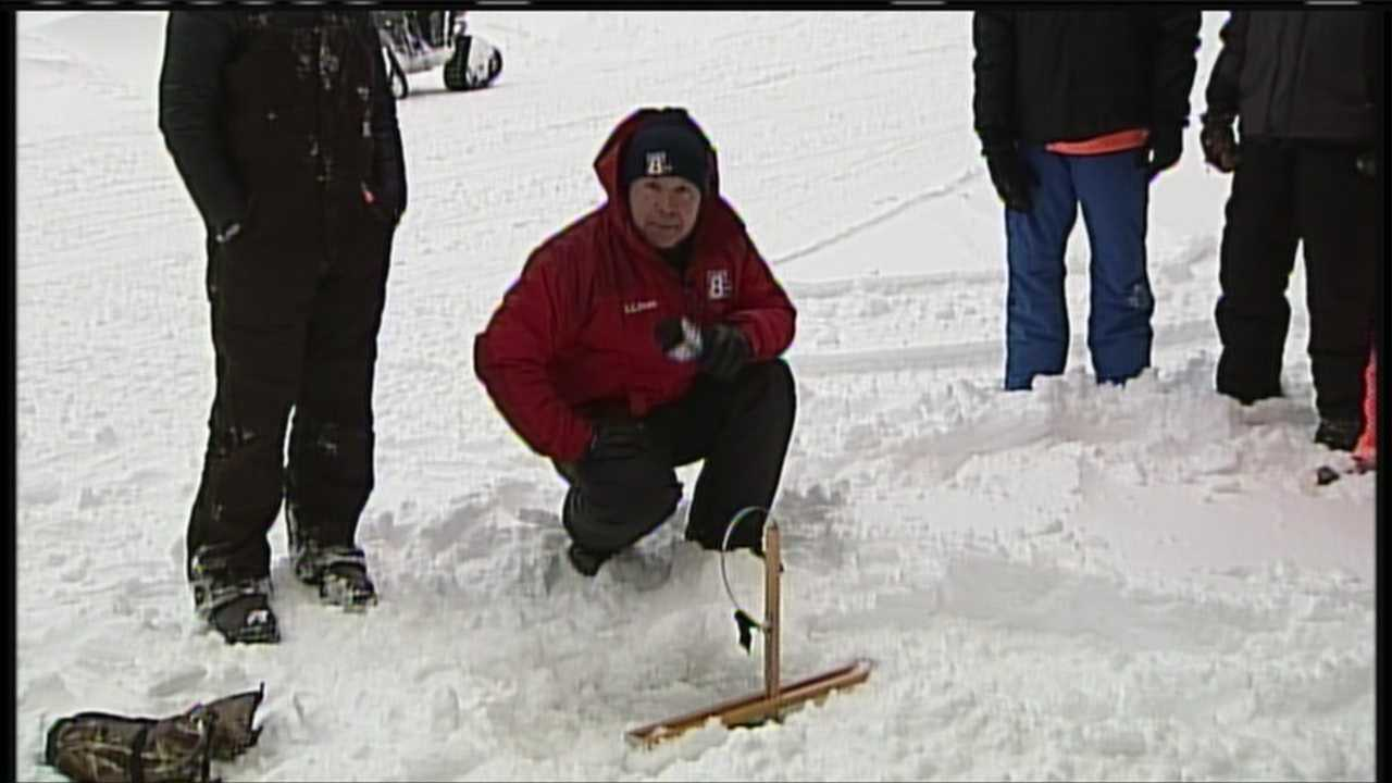 The Crystal Lake Ice Fishing Derby was founded to help support maine's military and the Department of Inland Fisheries and Wildlife. Ice fishing is just the beginning of the events going on Saturday. WMTW News 8's Norm Karkos fires up the auger on Crystal Lake in Gray.