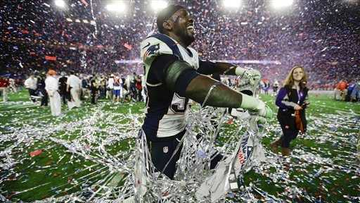 New England Patriots defensive end Chandler Jones (95) celebrates.