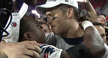 Tom Brady and Matthew Slater celebrate their Super Bowl XLIX victory.