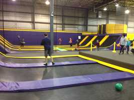 Kids spend their snow day at the Get Air trampoline park in Portland.
