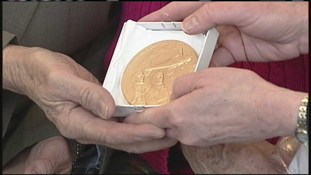Sen. Susan Collins, R-Maine, honored a local World War II veteran Saturday by presenting him with the congressional gold medal.