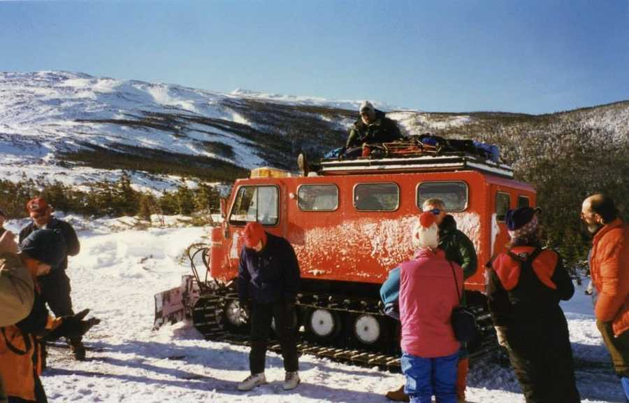 This is the first snowcat I was a passenger in. Bench seats, which was challenging when you're going uphill or downhill for nearly 8 miles (think ab workout as you're trying to not crash into the person next to you), and limited heat.