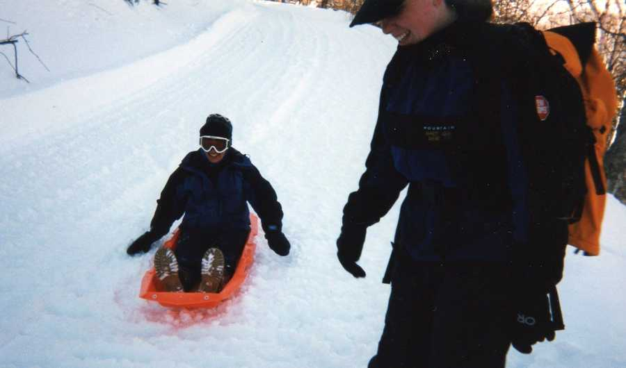 Sledding will never be this awesome again. This is not allowed by the Mt. Washington Auto Road anymore, as their SnowCoaches that bring passengers up to the halfway point would be dangerous to people on the road in the winter.