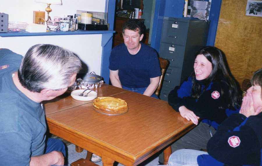"""Some of my fondest memories - heading to the """"neighbors"""" at the WMTW transmitter building. This was their kitchen table, where we all had many holiday dinners together (I've carried a turkey and a cat across the summit (not at the same time) in the middle of winter to bring them to the holiday dinner at """"TV."""" This was one of Ch 8 Engineer Mr. Chushman's pies. Guys, he makes THE BEST pies."""