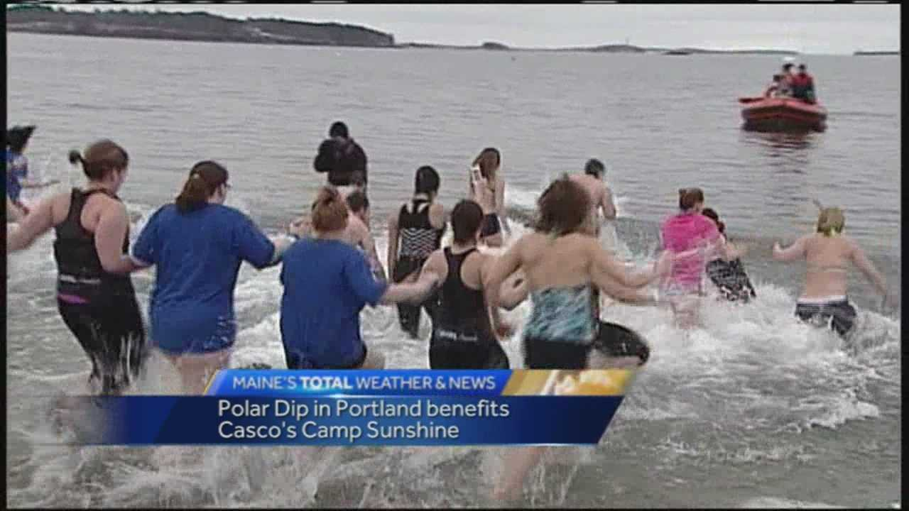 Some brave souls plunged into Portland Harbor to raise money for Casco's Camp Sunshine.