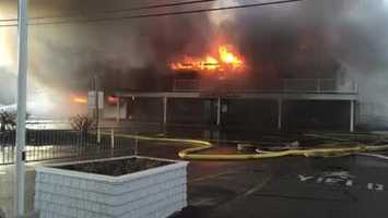 Firefighters in Ogunquit battled a fire at three waterfront businesses. (Courtesy: Ogunquit Police Department)