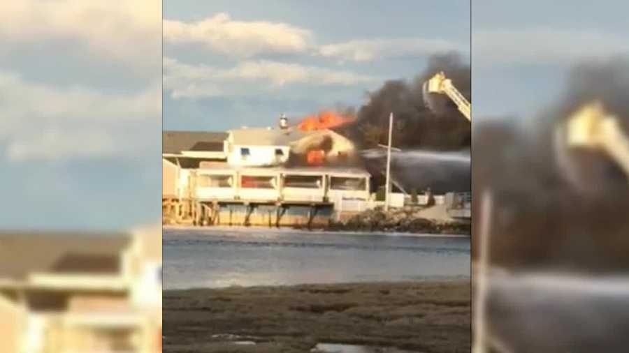 Firefighters in Ogunquit battled a fire at three waterfront businesses. (Courtesy: Anthony Defeo)
