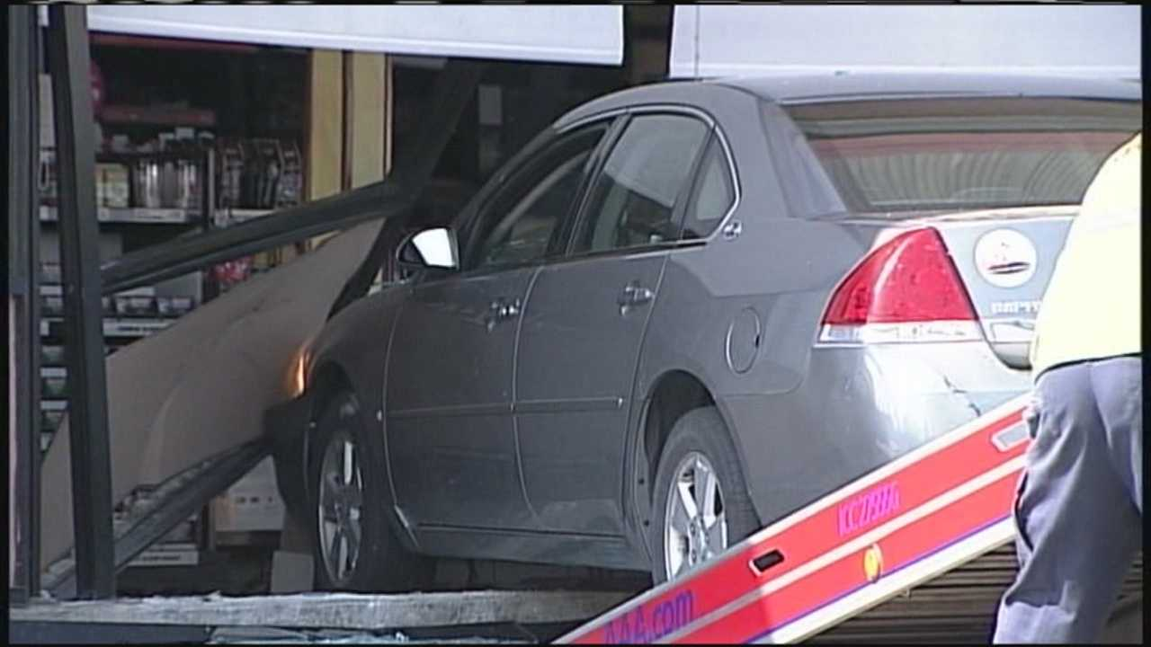 A car crashed into the Dunkin Donuts on Main Street Sunday.