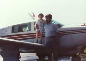 David's dad is a private pilot. Here are the two of them before a flight!